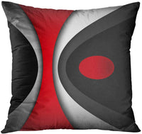 Emvency Throw Pillow Cover Black in Modern Abstract Red Decorative Pillow Case Home Decor Square 20x20 Inch Pillowcase