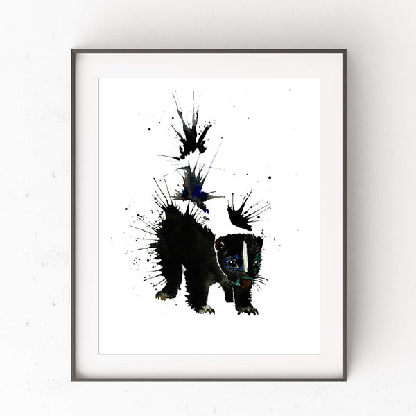 Skunk Wall Art by Whitehouse Art | Woodland Nursery, Nursery Decor, Baby Shower Gifts for Boys or Girls, Housewarming Present |Professional Art Print of an Original Watercolor Skunk Painting | 2 Sizes