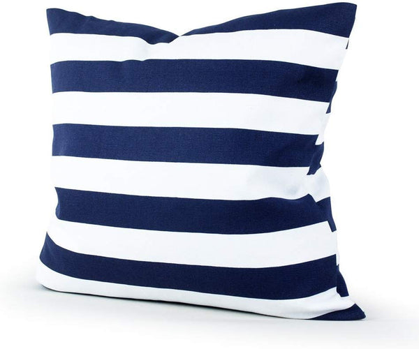 Leaveland Retro Navy Blue Stripe 18x18 Inch Cotton Linen Square Throw Pillow Case Decorative Durable Cushion Slipcover Home Decor Sofa Standard Size Accent Pillowcase Encasement