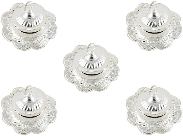 GoldGiftIdeas Silver Plated Flower Shape Sindoor Dabbi with Lid, Indian Pooja Items for Home, Return Gifts for Housewarming and Baby Shower, Indian KumKum Box for Gift with Potli Bags (Pack of 5)