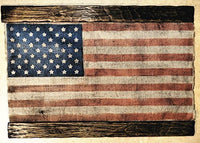 American Flag, Rustic USA Flag Wall Decor, Custom Handmade Artwork Painted on Distressed Old Burlap & Wood, Personalized Gifts