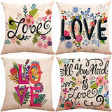 ZUEXT Set of 4 Sunflower Throw Pillow Covers 18x18 Inch Double Side Print, Indoor Outdoor Cotton Linen Country Accent Farmhouse Cushion Pillowcases for Sofa Bed Car