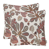 Mika Home Set of 2 Jacquard Tropical Leaf Pattern Throw Pillow Covers Decorative Pillowcase 20X20 Inches,Blue Cream