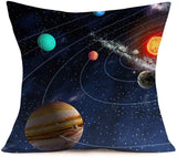 Smilyard Space Throw Pillow Covers,Solar System Universe Planet Image Decorative Cotton Linen Cushion Cover Square Accent Pillow Case 3D 18X18 Inch Set of 4 (Planet Image)