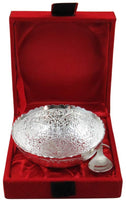 GoldGiftIdeas 4 Inch Silver Plated Round Shape Serving Bowl, Brass Bowl for Gift, Return Gift for Wedding and Housewarming (Pack of 5)