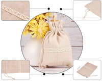 PH PandaHall 20PCS 3.9x5.5'' Burlap Drawstring Bags with Lace Jewelry Pouches Bags Gift Bags Wedding Christmas Party Favor Pouches, Tan
