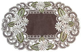 Doily Boutique Place Mat or Doily with a White Daisy Flower on Brown Burlap Linen Fabric, Size 27 x 13 inches