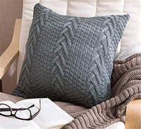 "Awishwill Cotton Knitted Pillow Case Decorative Cushion Cover Cable Knitting Patterns Square Warm Throw Pillow Covers (Grey, 18"" x 18"")"