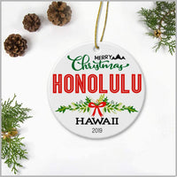 Merry Christmas Honolulu Hawaii 2019 - Ceramic Round Decoration Ornament Keepsake Christmas Tree Decor Housewarming Gifts Ideas For Friends, Family Members, Couples And Newlywed