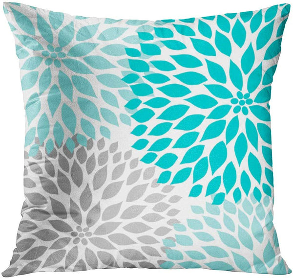 Emvency Throw Pillow Cover Teal White Turquoise Blue Gray Dahlia Mod Baby Decorative Pillow Case Home Decor Square 18 x 18 Inch Pillowcase