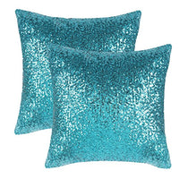 PONY DANCE Sequins Pillow Cover - Durable Solid Sequin Fabric Throw Cushion Cover Bling Square Sofa Pillowcase with Hidden Zipper for Xmas Home Decor, 18 x 18 inch, Champagne Blush, 1 PC