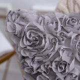 MIULEE 3D Decorative Romantic Stereo Chiffon Rose Flower Pillow Cover Solid Square Pillowcase for Sofa Bedroom Car 12x20 Inch 30x50 cm Grey