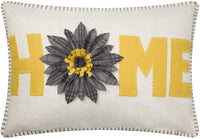JWH 3D Sunflower Accent Pillow Case Handmade Cushion Cover Decorative Stereo Embroidery Pillowcase Home Bed Living Room Office Chair Couch Decor Sham Gift 14 x 20 Inch Wool Gold Yellow Gray Plaid