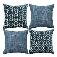 Original Pro Decorative Pillow Covers Chenille Plush Velvet Pillow Covers Geometric Textured Waves Striped Pillow Cases for Sofa Couch Bed 18x18 inches Set of 4 Navy Blue