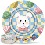 8-Piece Set Ceramic Coasters for Drinks,Happy Easter Cartoon Rabbit and Coloful Eggs Unique Absorbent Round Ceramics Cork Backed Cup Mat for Home/Housewarming Gift