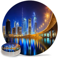 4 Pieces Ceramic Drink Coasters,Ceramic Absorbent Round Cork Coasters Base Coasters Set for Housewarming Gifts, Apartment Kitchen Room Bar Decor,Dubai City Landscape