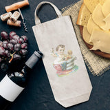 Cotton Custom Wine Gift Bag Baby Take Bath Vintage Look Characters Children Housewarming & Party Accessories Natural Canvas Tote Personalized Text Here