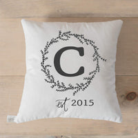 Personalized Throw Pillow - Initial & Established Year, Handmade in the USA, calligraphy, home decor, wedding gift, engagement present, housewarming gift, cushion cover, throw pillow