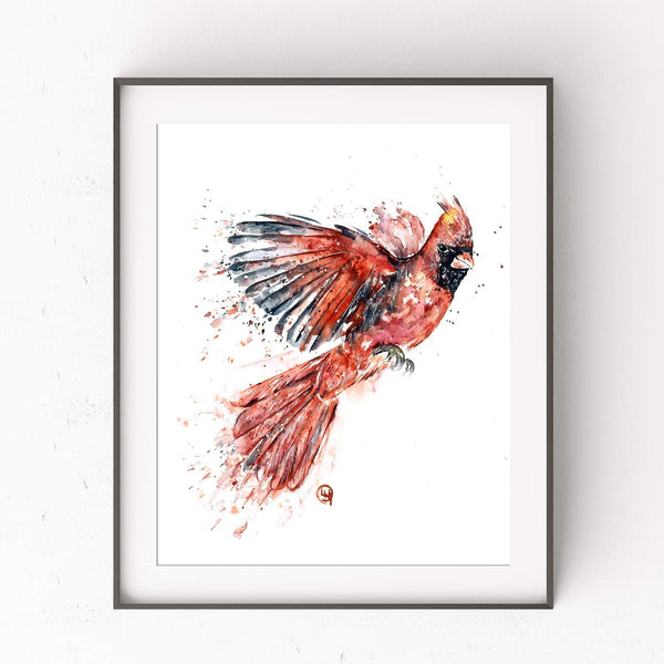 Cardinal Artwork by Whitehouse Art | Cardinal Gifts, Cardinal Decor, Housewarming Gifts | Professional Art Print of Red Cardinal Original Watercolor | New Home Gift Ideas | 5 Sizes