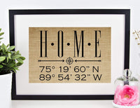 Personalized Housewarming Gifts for New Home Decor, Homeowner, Wedding, Anniversary, Real Estate Closing, Latitude Longitude (8x10 or 11x14 Burlap Print)