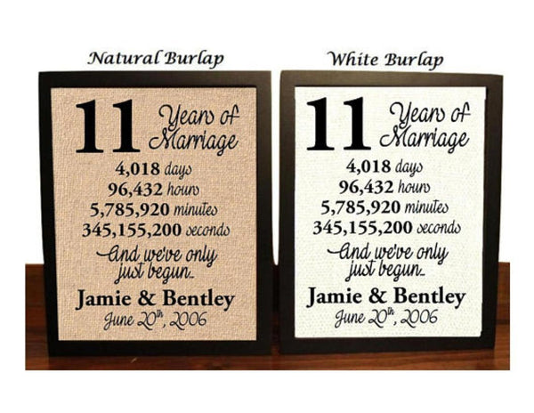 11 Year Anniversary Burlap Print | 11th Anniversary | 11th Anniversary Gift | 11 Years Together | 11th wedding Anniversary | 11th Anniversary gift for her | 11 Years of Marriage