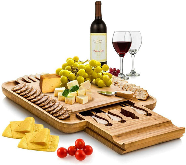 Bambusi Cheese Board and Knife Set - 100% Organic Bamboo Wood Charcuterie Platter Serving Tray with Cutlery - Perfect for Birthday, Housewarming & Wedding Gifts