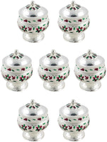 GoldGiftIdeas Silver Plated Sindoor Dabbi with Lid, Return Gifts for Housewarming and Baby Shower, Indian Pooja Items Silver, Indian Pooja Thali Set for Home, Wedding Return Gift with Potli Bags (10)