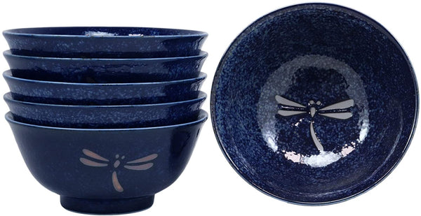 Ebros Gift Made in Japan Blue Tombo Dragonfly Design Ochawan Rice Soup Porcelain Bowls Set of 6 Home Decor Japanese Zen Fusion Asian Living Accent Housewarming Birthday Gifts Bowl Set