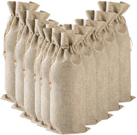 GorNorriss Burlap Wine Bag - 10 Pack Burlap Wine Bags with Drawstrings, Wine Bags Gift - Single Reusable Bottle Bags Perfect for Travel, Wedding, Birthday, Housewarming and Dinner Party