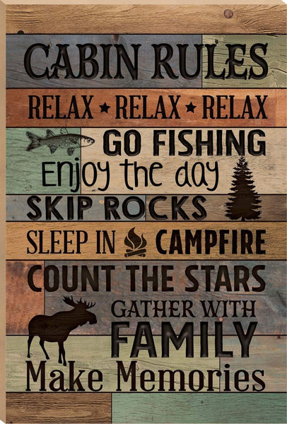 Emily Cabin Rules Make Memories Fish Moose Handmade Wood Signs with Quotes Home Plaque Home Craft Sign for Women Men Housewarming Gift