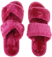 Fashion Indoor Warm Fleece Slide On Slippers, Womens Ladies Girls Spa Flip Flop Furry Faux Fur Lined Soft Slides Open Toe Slip On Flat Mule Sandals Non-slip Plush Mules Home Bedroom Slipper Shoes Gift