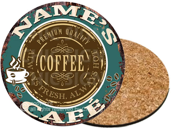 Any Name's Coffee Cafe Custom Personalized Coasters Rustic Shabby Vintage Style Retro Kitchen Bar Pub Coffee Shop Housewarming Gift Wedding Gift Ideas (6)