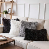Phantoscope Luxury Series Throw Pillow Covers Faux Fur Mongolian Style Plush Cushion Case for Couch Bed and Chair, Navy Blue 18 x 18 inches 45 x 45 cm