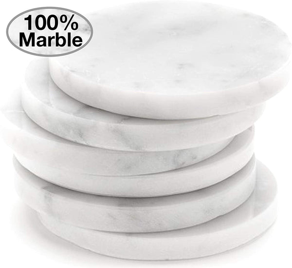 White Carrara Marble Stone Coasters For Drinks, Set of 6, With Holder | Perfect Housewarming Gift, Wedding Gift, or For Your Kitchen, Living Room, Coffee Table Decor