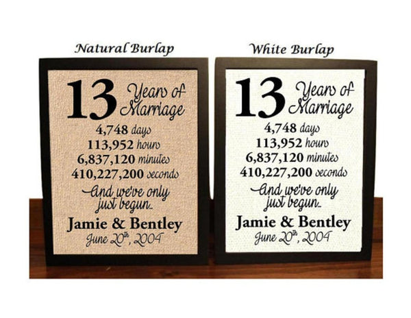 13 Year Anniversary | 13th Anniversary | 13th Anniversary Gift | 13 Years Together | 13th wedding Anniversary | 13th Anniversary gift for her | 13 Years of Marriage | Burlap Print