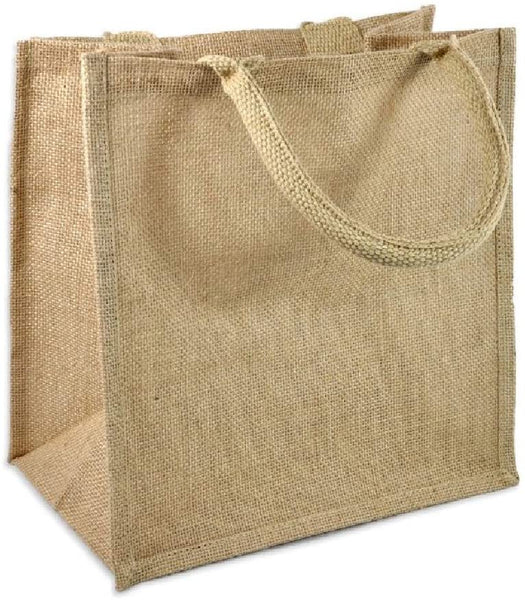 "(Set Of 6) Eco Online Market, Natural Burlap Tote Bags 12"" x 12"" x 7.75"" Rustic Wedding Gift Bags, Bridesmaid Gift,Burlap Favor Bags, Wholesale Gusset Burlap Tote Bags (Natural, 6)"