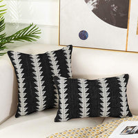 Tiffasea Black and White Throw Pillow Covers Decorative Boho Pillowcases Square Accent Woven Cushion Cover Farmhouse Neutral Cotton Decor for Couch Sofa Bed Living Room (18x18 inch, Small Tree)