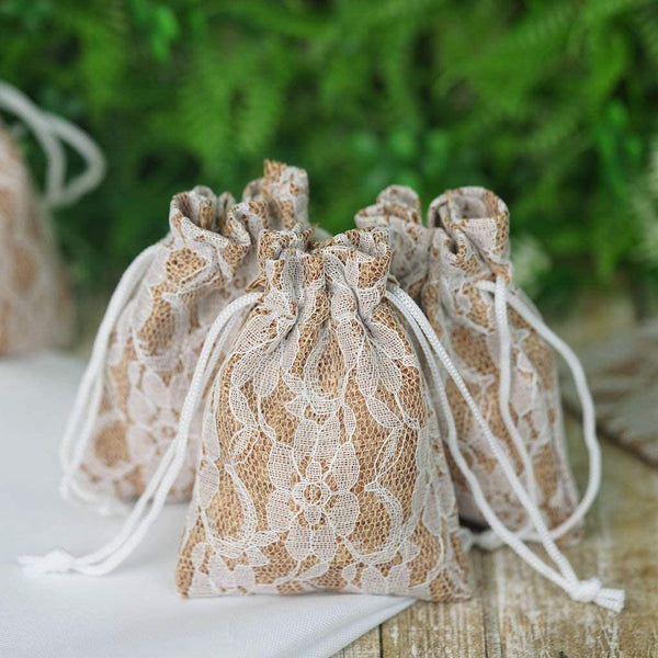 BalsaCircle 50 pcs Natural Brown Burlap 3x4-Inch Floral Lace Favor Bags with Pull String - Wedding Favors Jewelry Pouch Candy Gift