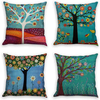 laime Throw Pillow Covers Natural Pattern Decorative Pillowcases 18x18inch (4 Pieces Set) Pillow Cases Home Car Decorative Trees and Birds