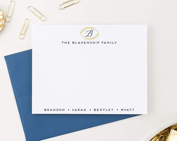 Gold Frame Monogrammed Personalized Family Stationery Set FLAT NOTE CARDS, Personalized Housewarming Gift Idea, Personalized Family Stationary Modern, Your Choice of Colors and Quantity
