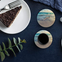 Drink Coasters Absorbent Natural Ceramic Stone Bar Coasters Set of 6 - Sunrise Ocean Beach Cup Mat with Cork Backing, Housewarming Gifts for Home Kitchen Decorations
