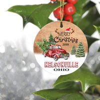 "Merry Christmas Tree Decorations Ornaments 2019 - Ornament Hometown Nelsonville Ohio OH State - Keepsake Gift Ideas Ornament Ceramic 3"" for Family, Friend and Housewarming"