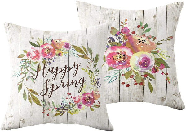 ZUEXT Rustic Spring Floral Decorative Throw Pillow Covers 18x18 Inch, Set of 2 Cotton Linen Outdoor Square Pillowcase for Sofa Couch Wedding Nursery Room Decor, Baby Shower Housewarming Hostess Gift