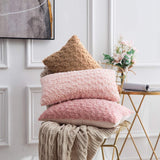 MIULEE Decorative Throw Pillow Covers Luxury Faux Fuzzy Fur Super Soft Cushion Pillow Case Decor Peach Pink Cases for Couch Sofa Bedroom Car 12 x 20 Inch 30 x 50 cm