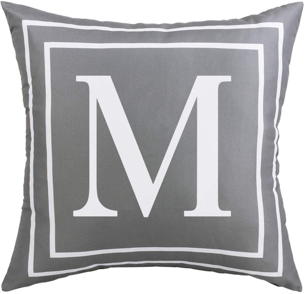 BLEUM CADE Gray Pillow Cover English Alphabet M Throw Pillow Case Modern Cushion Cover Square Pillowcase Decoration for Sofa Bed Chair Car 18 x 18 Inch
