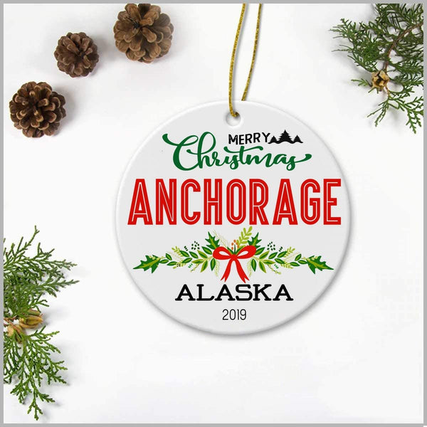 "Novelty Item For Christmas Tree Decoration Livingroom Bedroom Decoration Housewarming Gift Ideas Home Sweet Home Signs - Ceramic 3"" Ornaments Merry Christmas Anchorage Alaska 2019"