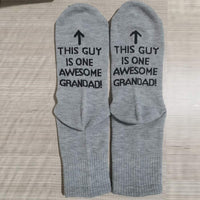 """{Awesome Dad"" Great Gift For Father Letter Print Funny Mid Short Socks"