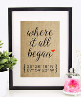 Valentines Day Gifts for Him or Her, Personalized Wedding Gift for Couple, Anniversary, Engagement: Where It All Began, Latitude Longitude (8x10 or 11x14 Burlap Print)