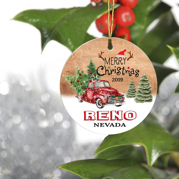 "Merry Christmas Tree Decorations Ornaments 2019 for Reno Nevada NV Residents - Keepsake Gift Ideas Ornament 3"" for Family, Friend and Housewarming"