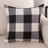 "Burlap Farmhouse Decor Buffalo Checkers Plaid Cotton Linen Decorative Throw Pillow Cover Rustic Cushion Cover Pillowcase for Sofa 18 x 18 Inch, Set of 2 (Black/White, 18""×18"")"
